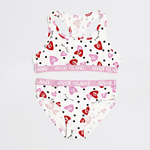 Girls white RI heart racer top set