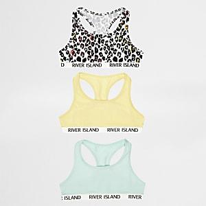 Lot de tops dos nageur à imprimé léopard blancs pour fille