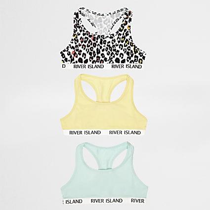 Girls white leopard print racer top multipack