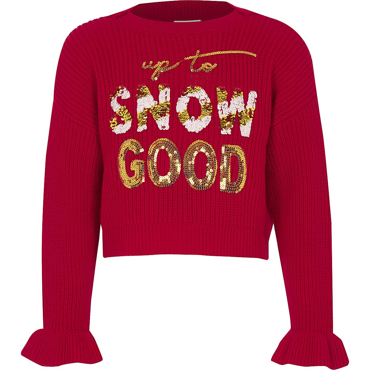 Girls red 'Snow good' Christmas jumper