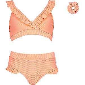 Koraalrode geribbelde triangel-bikini met ruche voor meisjes