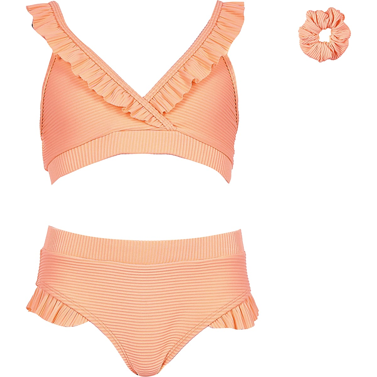 Girls coral rib triangle frill bikini set