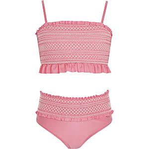 Girls pink shirred bandeau bikini set