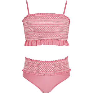 Bikini bandeau froncé rose pour fille