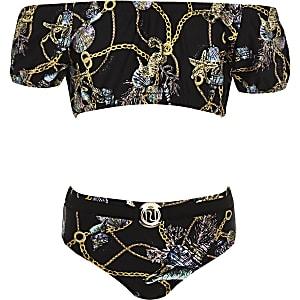 Girls black shell print bardot bikini set