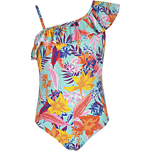 Girls blue tropical print frill swimsuit