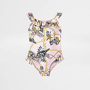 Mini girls pink shell print frill swimsuit