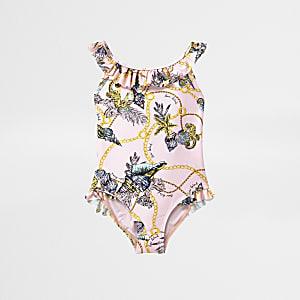 Mini - Roze badpak met schelpenprint en ruche voor meisjes