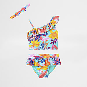 Mini girls blue tropical print tankini