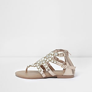 4884f780e Girls rose gold faux pearl flat sandals