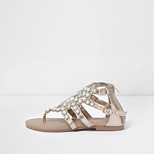 Roségoudkleurige platte sandalen met imitatieparels voor meisjes