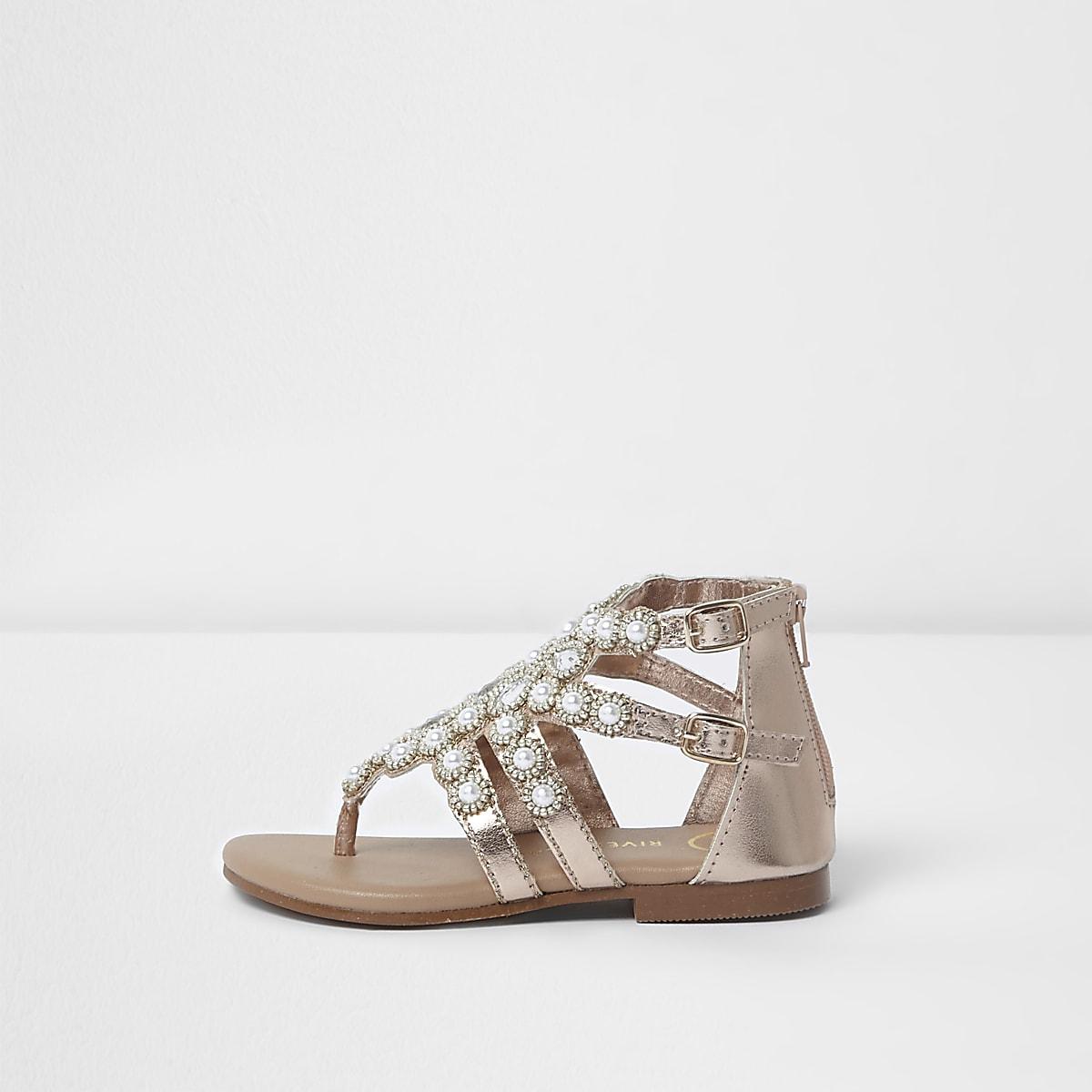 online store df7cd cb4cd Mini girls gold jewel toe post cage sandals