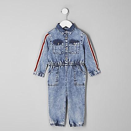 Mini girls blue acid wash denim jumpsuit