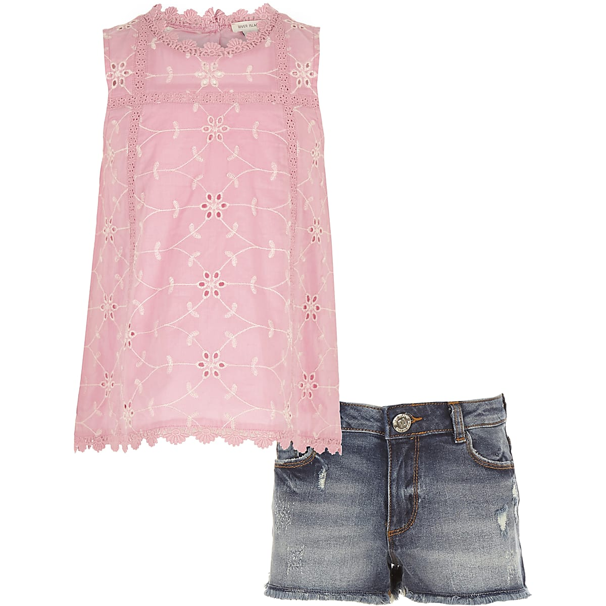 Girls pink broderie shell top outfit