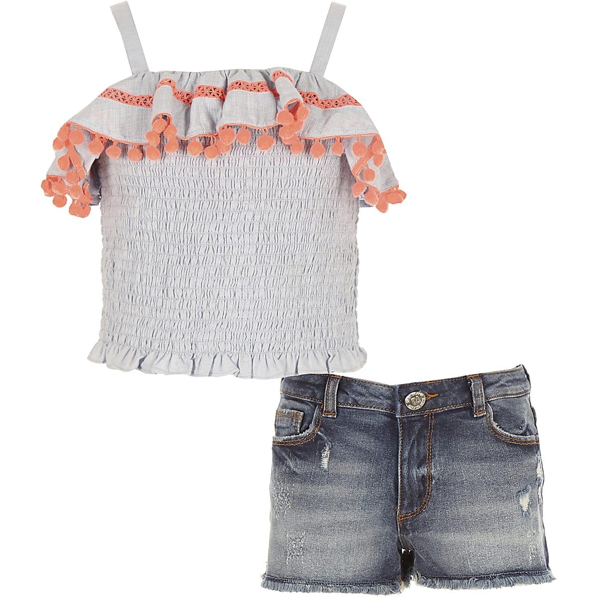 Girls blue pom pom trim cami top outfit