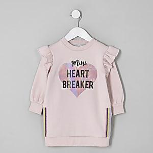 Mini girls pink 'Heart breaker' sweater dress