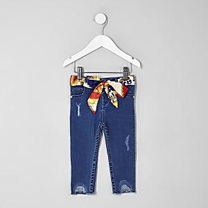 Mini - Amelie - Blauwe skinny jeans met sjaaltje voor meisjes
