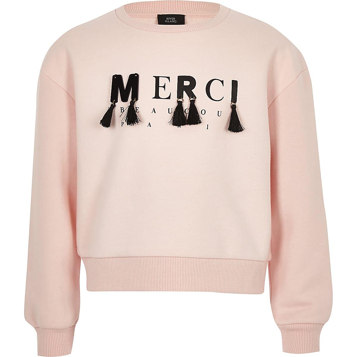Girls light pink 'merci' slouch sweatshirt
