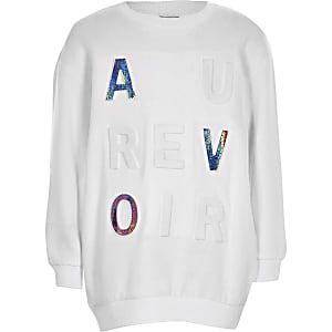 Wit sweatshirt met 'Au revoir' in folie voor meisjes