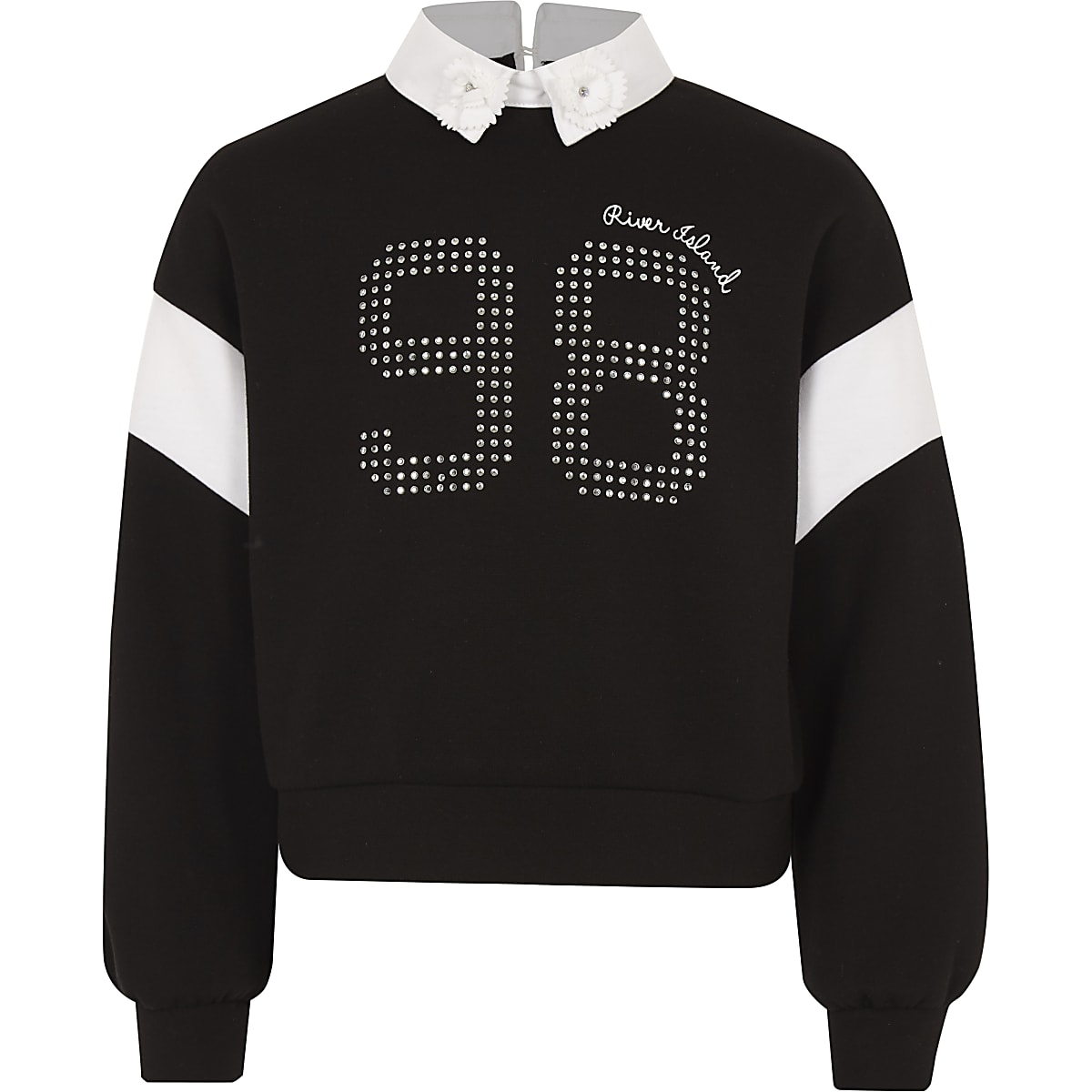 Girls black embellished collar sweatshirt