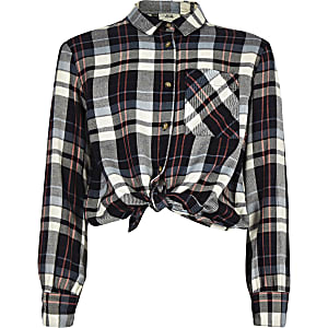 Girls blue frill tie front check shirt