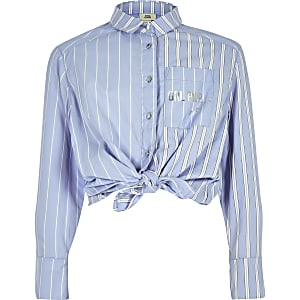 Girls blue stripe tie button-up shirt
