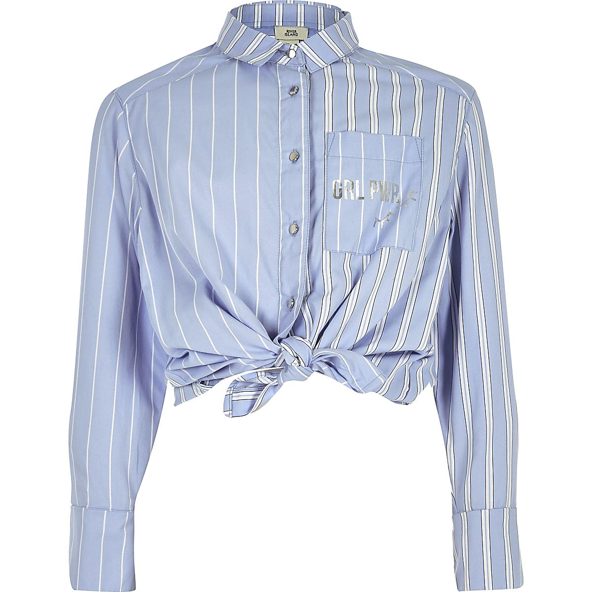 Girls blue stripe tie button-up shirt
