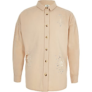 Girls light pink embellished shirt
