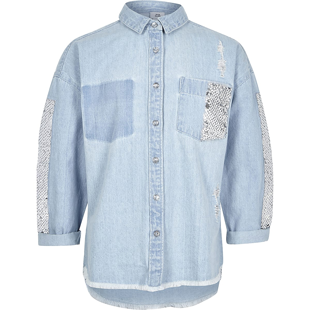Girls blue sequin embellished denim shacket
