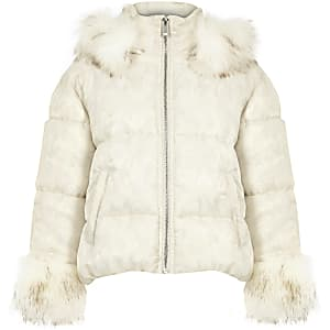 Girls white camo faux fur puffer jacket