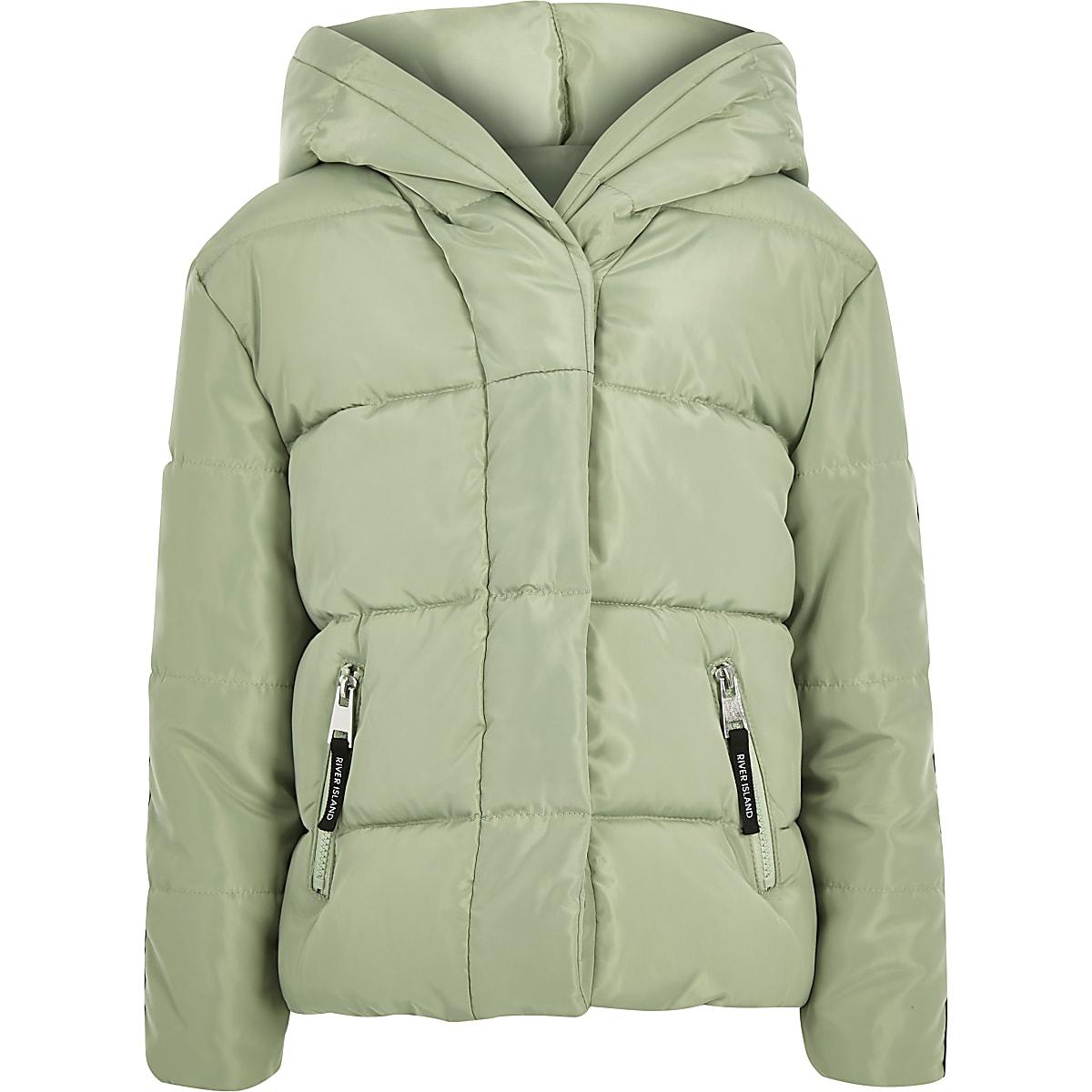Girls green RI tape hooded puffer jacket