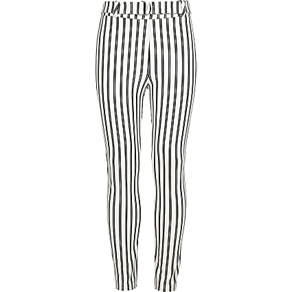 Girls stripe tie waist leggings