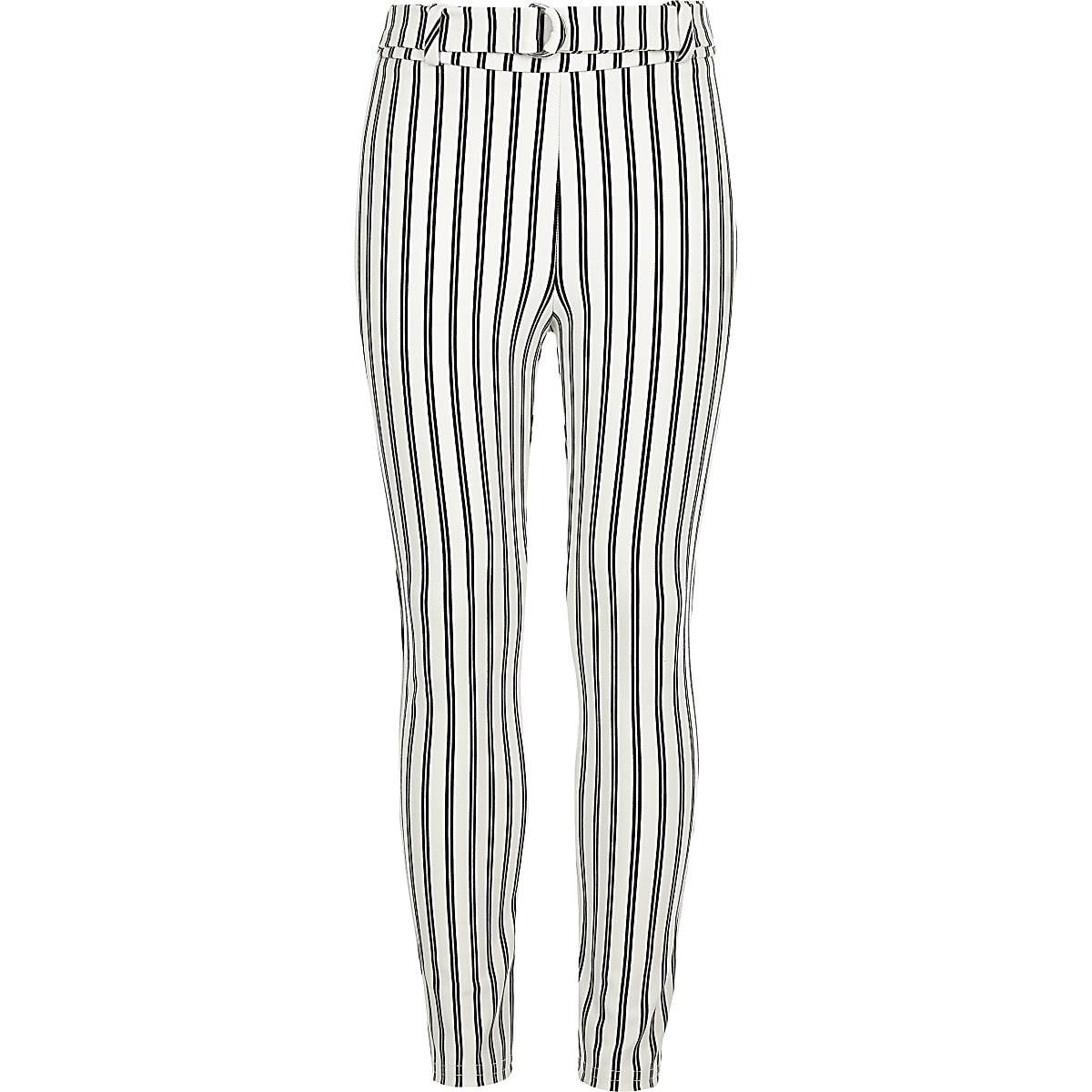 Girls stripe tie waist leggings