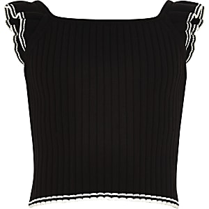 Girls black ribbed frill sleeve top