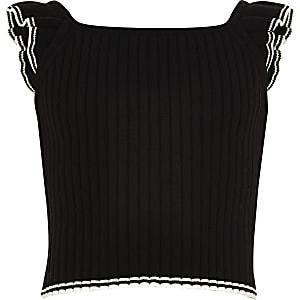 Zwarte geribbelde top met franje aan de mouwen voor meisjes