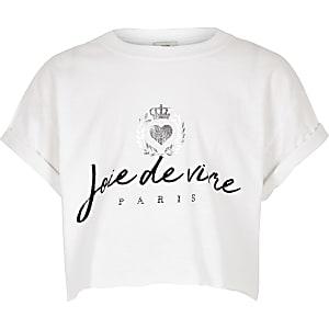 Crème crop top met 'Joie de vivre'-print voor meisjes
