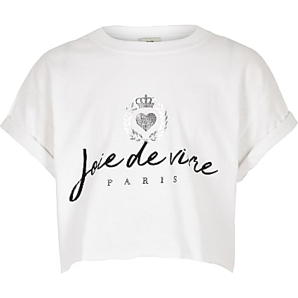 Girls cream 'Joie de vivre' crop top