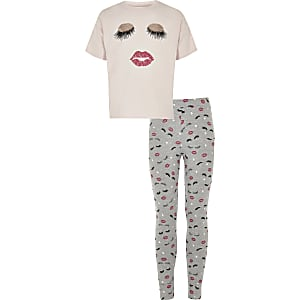 Girls pink eyelash and lips pyjama set