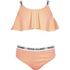 Girls coral rib RI elastic rib bikini set