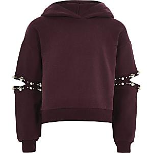 Girls purple pearl split sleeve hoodie