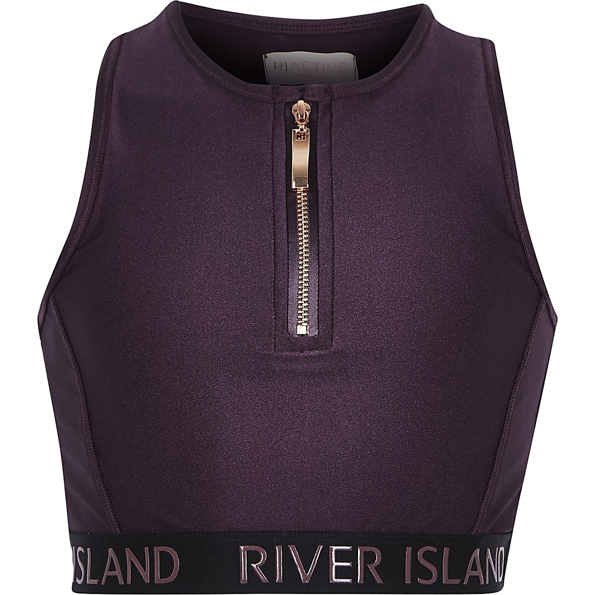 Girls RI Active purple zip front crop top
