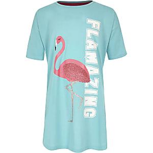 Pyjama imprimé flamant rose «Flamazing» bleu pour fille