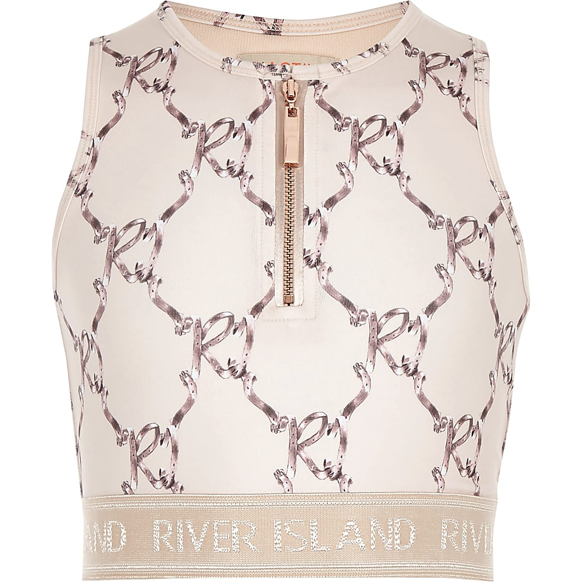 Girls RI Active pink bow print crop top