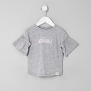 Mini girls grey 'Always adorable' T-shirt