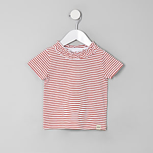 Mini girls red stripe ruffle T-shirt