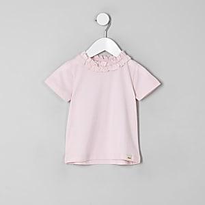 T-shirt rose à volants pour mini fille