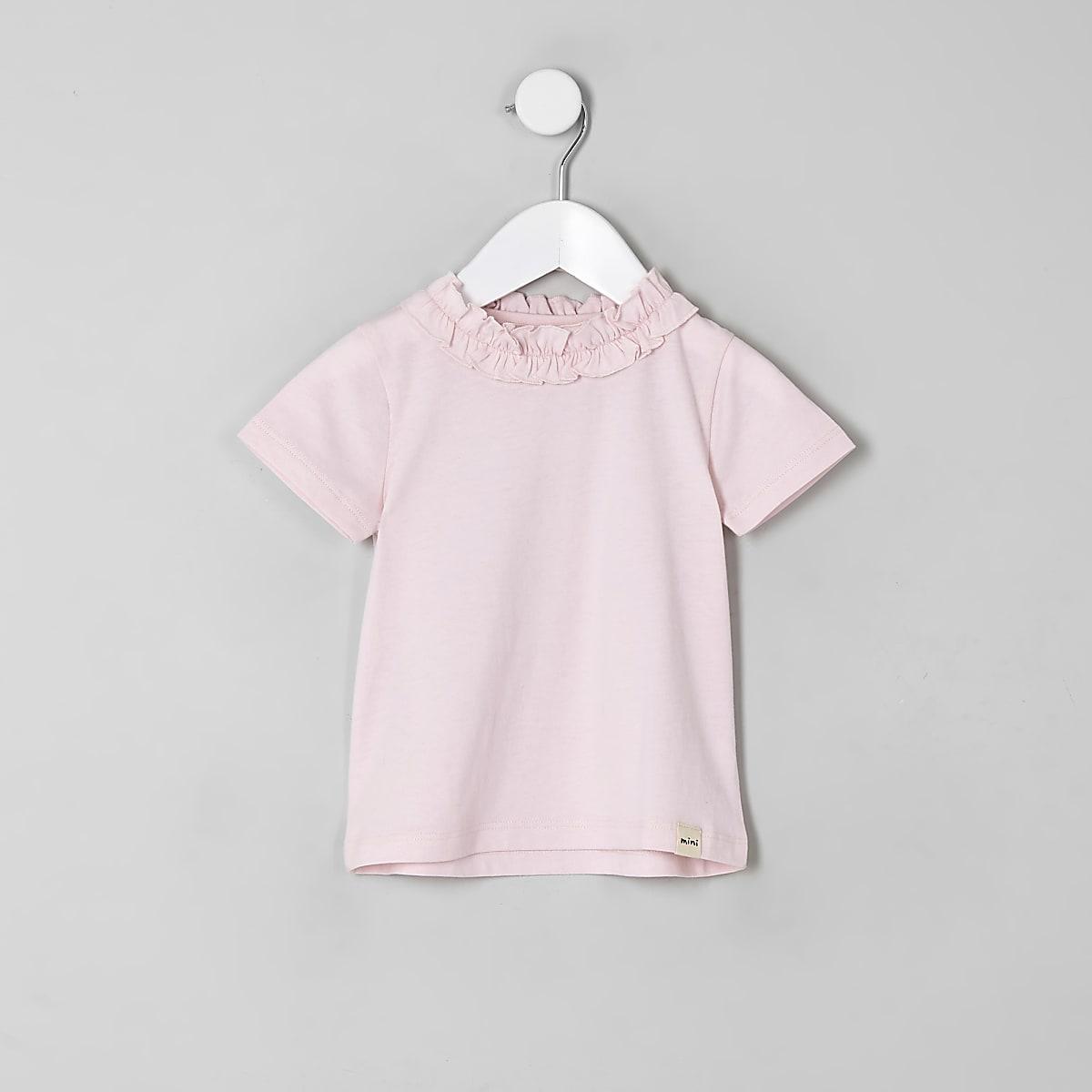 Mini girls pink ruffle T-shirt