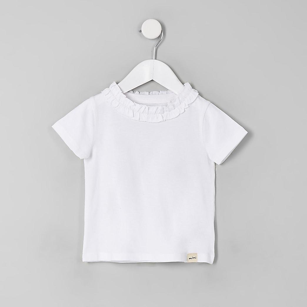 Mini girls white ruffle T-shirt