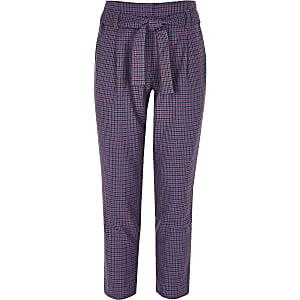 Girls purple check tapered pants