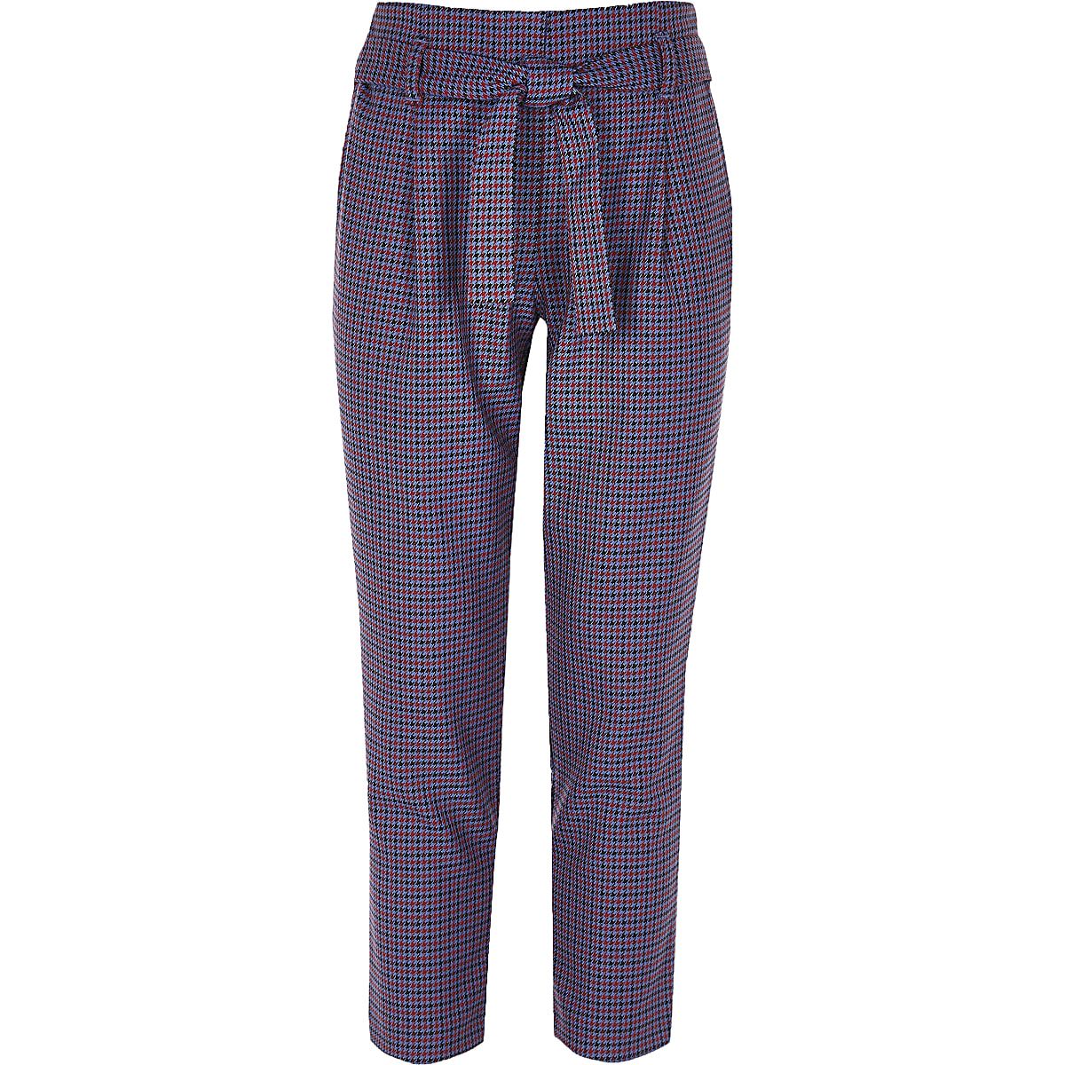 Girls purple check tapered trousers